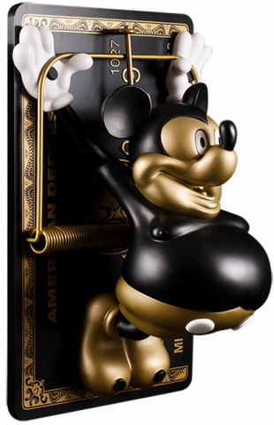 "In 2012 Ron teamed up with kidrobot to create a new vinyl sculpture for their ultra limited Kidrobot Black line. Entitled American Depress, the 12-inch figure depicts Ron's iconic image of a bloated Mickey Mouse ensnared in an Amex ""Black Card"" credit trap. English attended the launch event for a signing along with a meet and greet with fans at the KR's New York location."