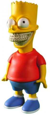 "After appearing on an episode of The Simpsons, Ron teamed up with Matt Groening to bring you The Bart Grin. This 10"" tall figure was produced by Made By Monsters and has been released in multiple different colorways."