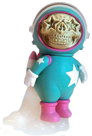 "Ron English and singer Chris Brown launched their Dum English toy series in collaboration with Made by Monsters. Their first release was marked by a signing of their turquoise and pink Astronaut Star Skull 10"" Vinyl Toy and Astronaut Star Skull Necklace in May 2012 at Toy Art Gallery in Los Angeles, followed by another release at Toy Tokyo in New York."