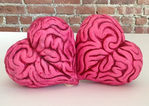 "Inspired by English's saying ""The human heart beats itself to death"" comes the resin Heart Brain. This 4.5"" tall, 4.5"" wide, 2.5"" wide sculpture of Ron English's Heart Brain design was rotocast in resin and was originally released at his Thought Factory show. Pictured to the right are two pieces from the large edition produced, but there were also many one-off versions created for the show."
