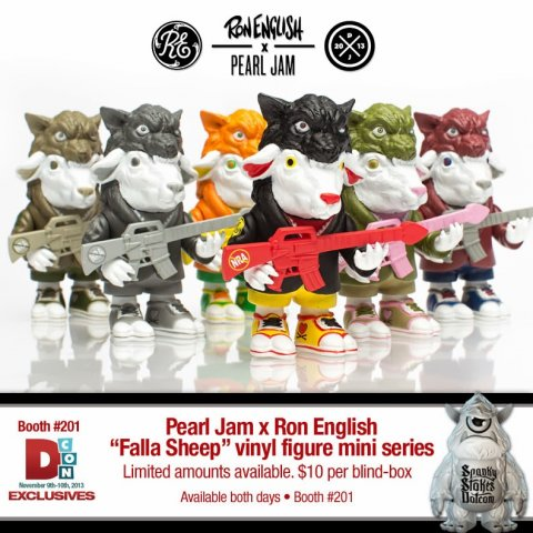 "In 2013 Ron English collaborated with rock band Pearl Jam to produce ""Falla Sheep"". This line up of blind box vinyl features 7 color variants of the 3.5"" sheep in wolves clothing figure. Each piece came blindboxed and sealed in a foiled bag."