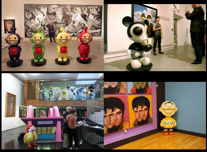 In 2009 Garageworks Industries created three of Ron's characters 4' tall for his Status Factory Exhibition. Characters include Mousemask Murphy, Charlie Grin (3 different colors), and the Telegrinnies (one of each color). MINDstyle was responsible for producing the 4ft MC Supersized.
