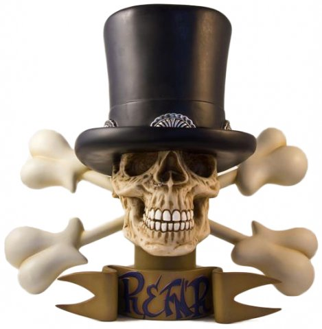 When SLASH, arguably the world's greatest guitar player, embarked on a solo career with his album SLASH & Friends, collaborations with his favorite singers, he asked artist Ron English to collaborate with him on the cover. Ron interpreted SLASH's iconic skull with a top hat using Ron's unique glowing color technique in a boudoir atmosphere complete with guitar/derriere crossbones. In response to the popularity of the album artwork Ron English and SLASH worked together to create a limited edition fiberglass bust of the now iconic image. In collaboration with Garage Works, the ENGLISH x SLASH bust was released in 2013 limited to a run of 10 pieces, each signed and numbered by Ron English and SLASH.
