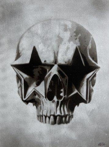 star skull stencil wood silver sm